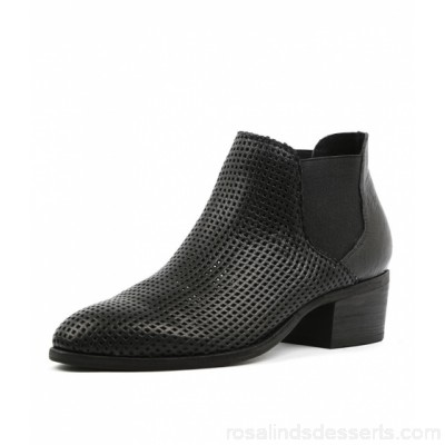 DJANGO & JULIETTE Women hiska black punch leather Perforated upper Stacked heel DJ11371-BLA-FP JSTVKPI