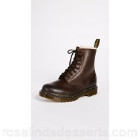 Dr. Martens Women Serena 8 Eye Sherpa Boots Dark Brown Leather Cowhide DRMAR30017 KPQFNHL