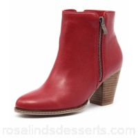 I LOVE BILLY Women capitol red smooth Stacked heel Double zips IL10289-RED-SM NTGQLCO