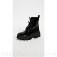 Jeffrey Campbell Women Agira Hiker Boots Black Leather Cowhide JEFFC40699 MNZMAKB