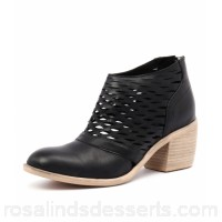 TOP END Women oblong black leather Stacked heel Functional back zip TO11098-BLA-LE AOFDEUW