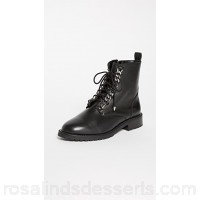 Rebecca Minkoff Women Gian Combat Boots Black Leather Cowhide RMINK46221 GICSNBQ