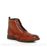 Men Base London - Tan leather 'Troop' brogue boots Upper Leather Lining Leather textile OKZNBOG