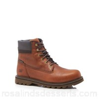 Men Caterpillar - Dark tan leather 'Deplete' lace up boots Upper Leather Lining Textile RRDGORI
