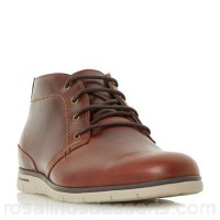 Men Dune - Brown 'Cooke' wedge chukka boots Heel height 2.5 cm Fastening lace up YBVVAQG