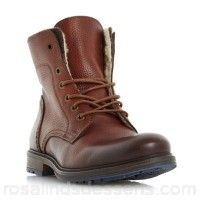 Men Dune - Tan 'Chichester' double collar warm lined lace up boots Heel height 2.5 cm Fastening Lace up OMDHMRT