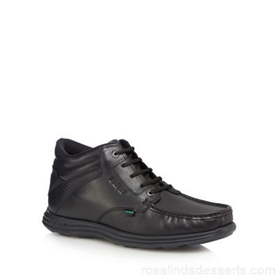 Men Kickers - Black leather 'Reasan' lace up boots Upper leather Lining textile LMLARLF