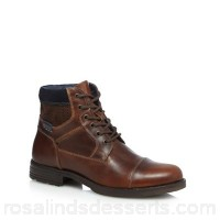 Men Red Herring - Tan leather lace up boots Upper Leather Lining Textile QNIWFDQ
