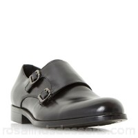 Men Dune - Black 'Paparazzi' studded rand double buckle monk shoes Heel height 2 cm Fastening Buckle UHGVCLH