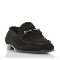 Men Dune - Black 'Pinocchio' classic snaffle loafers shoes Heel height 2 cm Upper Suede LNATPXH