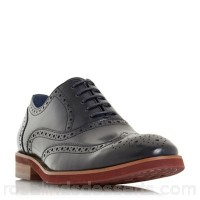 Men Dune - Navy 'Preppy' punch hole wingtip low block heel brogues Heel height 1.0cm/0.3 inches Fastening Lace up FCYWTWR