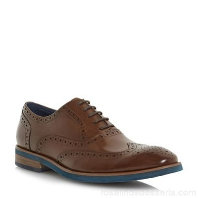 Men Dune - Tan 'Preppy' punch hole wingtip low block heel brogues Heel height 1.0cm/0.3 inches Fastening Lace up QFHSQBD