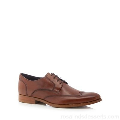 Men J by Jasper Conran - Tan leather 'Milan' wingtip Derby shoes Upper Leather Lining Leather textile ZMEFHYL