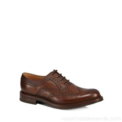 Men Loake - Brown leather 'Edward' Goodyear brogues Goodyear welted sole Lace fastening CDNICYF