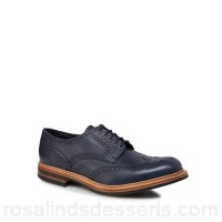 Men Loake - Navy leather 'Worton' brogues Lace fastening Upper Leather YONGQAJ