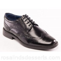 Men Padders - Black leather 'Berkeley' wide fit shoes Fastening lace up Heel height 2.5cm/0.98 inches YDRZBKJ