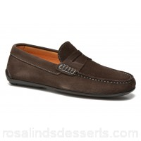 HE Spring Penny gomme Mens Loafers Spring/Summer Suede Choco 0.5 cm 131226 UHWFVQF