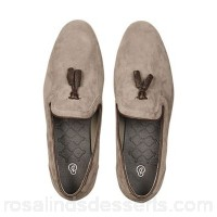 Men Burton - Grey suede look tassel loafers 100% synthetic Do not wash KHEGQEW