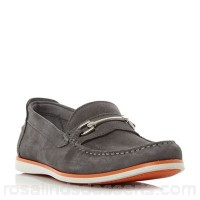 Men Dune - Grey 'Bronn' snaffle bit contrast sole loafers Fastening slip on Upper suede IDXSHZY