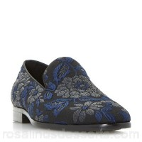 Men Dune - Navy 'Pizazz' brocade slipper cut loafers Heel height 2 cm Fastening Slip on FUUWVDI