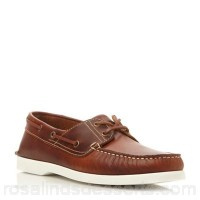 Men Dune - Tan 'Boat party' white sole leather boat shoe Heel height 0cm Fastening Lace up HHFTJHX