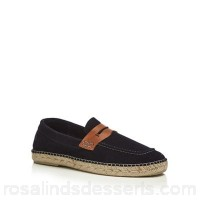 Men H By Hudson - Navy suede 'Juan' loafers Upper leather Lining leather / textile PHAXGYJ