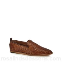 Men H By Hudson - Tan leather 'Ipanema' woven slip-on shoes Upper leather Lining leather / textile MMAPJHI