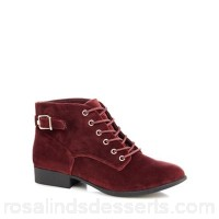 Women Call It Spring - Maroon velvet 'Gitana' ankle boots Lace fastening Upper Textile MAKLIOV