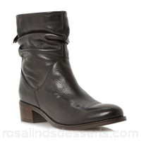 Women Dune - Black 'Pagers' ruched side zip ankle boots Heel height flats Upper leather RPJOSTT