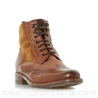 Women Dune - Tan 'Philomena' brogue detail lace up ankle boot Heel height low 39mm and below Upper leather UWYTDCP