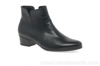 Women Gabor - Black leather 'Delaware' low heeled ankle boots Heel height 3.5cm/1.4 inches Fastening zip RWNQKJZ