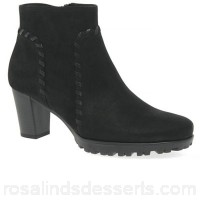 Women Gabor - Black nubuck 'Elan' mid heeled ankle boots Heel height 5.5cm/2.2 inches Fastening zip FHUKRRL