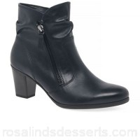 Women Gabor - Navy leather 'Ellie' mid heeled ankle boots Heel height 5cm/2 inches Fastening zip RMWRTRC