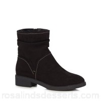 Women Good for the Sole - Black suedette 'Grayson' mid block heel wide fit ankle boots Wide fit Zip fastening UUYMZRC