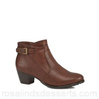 Women Good for the Sole - Brown 'Gerdie' mid block heel wide fit ankle boots Wide fit Zip fastening SRMZWCP