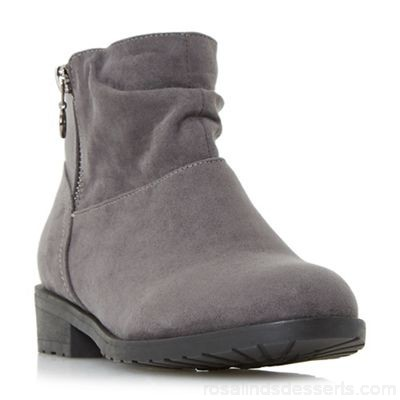 Women Head Over Heels by Dune - Grey 'Perci' side zip ruched flat ankle boots Heel height low 39mm and below Upper micro fibre LZZSCWR