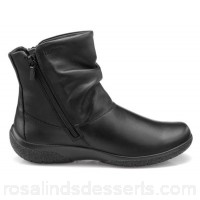 Women Hotter - Black leather 'Whisper' ankle boots Ultra padded faux fur lining Inside and outside zip IHUFDLL