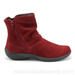 Women Hotter - Dark red suede 'Whisper' ankle boots Ultra padded faux fur lining Inside and outside zip FPTIPQA