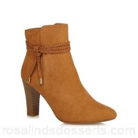 Women Principles - Tan suedette 'Bibi' high block heel ankle boots Zip fastening Heel height 9cm/3.5inches WBAOMQZ