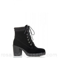 Women Quiz - Black faux suede lace up chunky boots Faux suede Lace up CPVGNXE