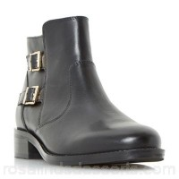 Women Roberto Vianni - Black 'Pria' double buckle ankle boots Heel height flats Upper leather ZRQEMQH
