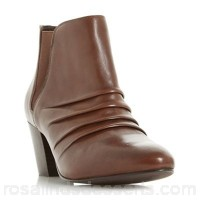 Women Roberto Vianni - Tan 'Obscure' ruched heeled ankle boots Heel height medium 40mm to 85 mm Upper leather AQHSMVN