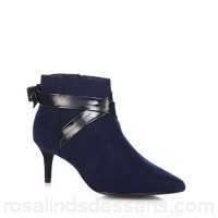 Women The Collection - Navy suedette 'Classy' mid kitten heel ankle boots Zip fastening Heel height 6.5cm/2.6inches XONTCPY