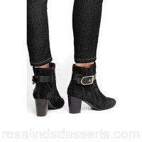 Women Wallis - Black belt buckle ankle strap boots Boot height 70mm Material microfibre/polyurethane LWKFRMG
