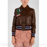 MIU MIU Embroidery Leather Jacket - Womens Jackets P109538