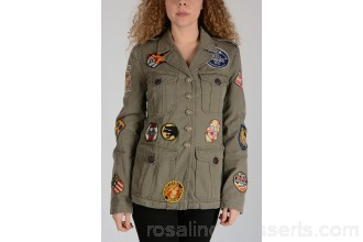 History Repeats Military Jacket with Patches - Womens Jackets P90802