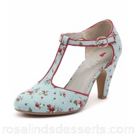 I LOVE BILLY Women albot blue spot print red smooth Adjustable buckled ankle strap IL10009-D44-SM FARIANQ