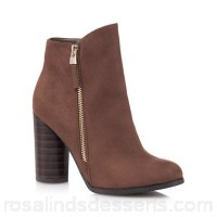 Women Call It Spring - Brown suedette 'Azizi' High block heel ankle boots Zip fastening Heel height 9.5cm/3.7inches DZSNLBE