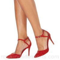 Women Faith - Red 'Cece' high stiletto heel wide fit pointed shoes Heel height 9cm / 3.5 inches Upper Textile CHHSNRT