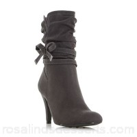 Women Head Over Heels by Dune - Grey 'Rayna' side bow detail calf boots Heel height low 39mm and below Upper micro fibre TGAANND